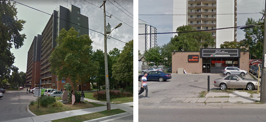 241 Simcoe St. and 446 York St. - the proposed sites for permanent supervised drug consumption facilities in London. Photo from Google Street View.