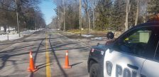 A section of Lakeshore Rd. being blocked off as police investigate an early morning collision. March 18, 2018. (Photo from the Sarnia Police Service twitter page)