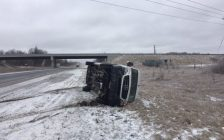 OPP reporting numerous crashes in April 2018 ice storm. Photo courtesy of OPP West via Twitter Apr. 15, 2018)