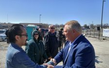Ontario PC leader Doug Ford meeting with Sarnia-Lambton residents at the site for the new wing of the London Road Diagnostic Clinic. April 20, 2018. (Photo by Colin Gowdy, BlackburnNews)