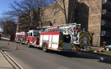 Windsor Fire and Rescue Service on the scene of an apartment fire on McDougall St. April 20,2018. (Photo by Maureen Revait)