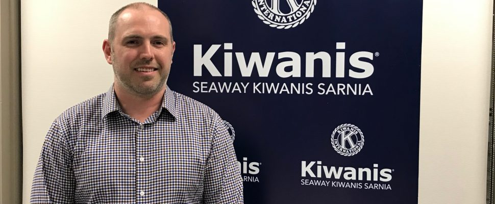 Dr. Blake Pearson speaks with members of Sarnia's Seaway Kiwanis club. April 24, 2018 (Photo by Melanie Irwin)