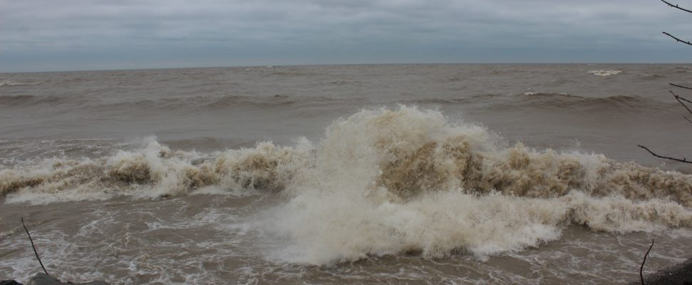 Erieau shoreline. April 16, 2018. (Photo by Sarah Cowan Blackburn News Chatham-Kent).
