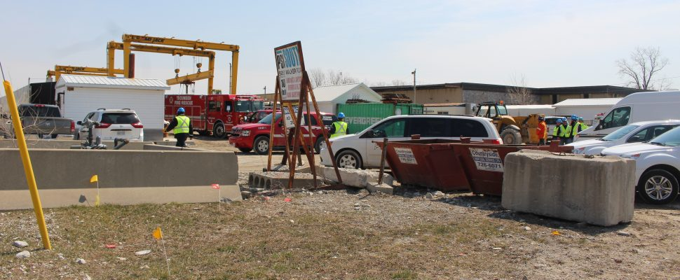 Tecumseh Fire and the Ministry of Labour on the scene of a fatal industrial accident at Prestressed Systems Inc., April 12, 2019. (Photo by Maureen Revait)
