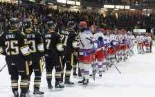 The Sarnia Sting eliminated by Kitchener Rangers in 6 games in OHL conference semi-final April 15, 2018 (Photo courtesy of Metcalfe Photography)