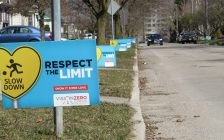 Respect the Limit lawn signs line Foster Ave. in London, April 23, 2018. (Photo by Miranda Chant, Blackburn News)