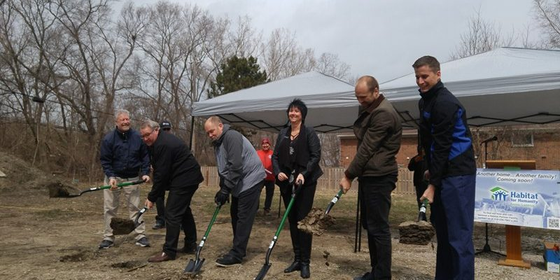 (Left to right) Pastor Eric Campbell, Warden Bill Weber, Dave Waters, Julie Jenkins, Nathan Colquhoun and Rob Vandenende at the site of the affordable seniors' housing project. April 11, 2018. (Photo by Colin Gowdy, Blackburn News)