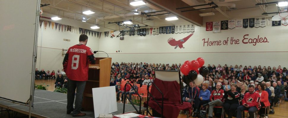 Forest native Tyler McGregor during a ceremony at North Lambton Secondary School. April 3, 2018. (Photo by Colin Gowdy, Blackburn News)