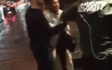 Police are investigating an altercation that ended with one man being punched in the face outside of Molly Blooms Irish Pub, April 16, 2018. (Video still courtesy of Aaron King)