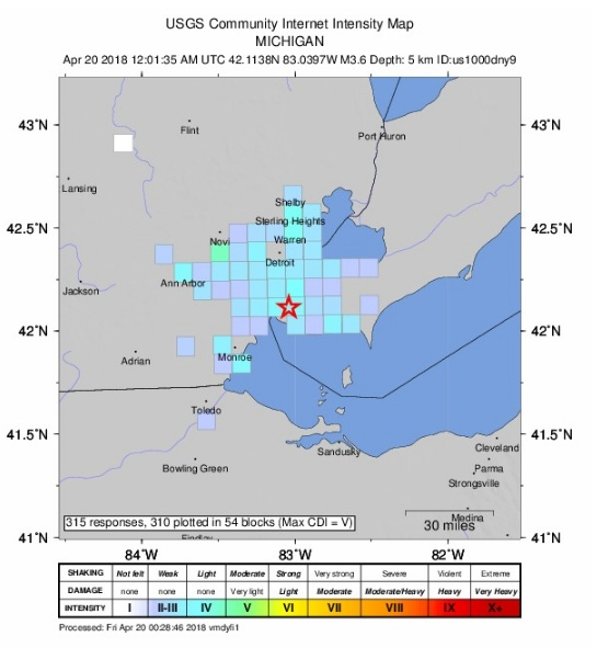 Canada natural disaster  felt in SE Michigan