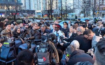 Toronto Police Chief Mark Saunders talks to reporters at the scene where it is reported a van intentionally ran down pedestrians, killing ten and leaving 15 others in hospital. April 23, 2018. (Photo courtesy of Toronto Police via Twitter)