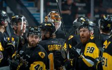 REGINA, SK - MAY 22: Hamilton Bulldogs' celebrate the win against the Acadie-Bathurst Titan at the Brandt Centre on May 22, 2018 in Regina, Canada. (Photo by Marissa Baecker/CHL Images)