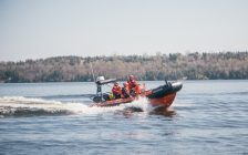 The Canadian Coast Guard's Inshore Rescue Boat students take part in a training exercise in Trenton, Ontario. (Photo courtesy of the Canadian Coast Guard)