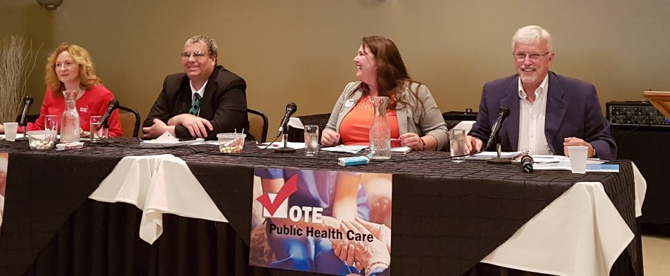 Candidates for the Chatham-Kent Leamington riding debate health care at Smitty's Family Restaurant in Chatham, May 10, 2018. From left, Margaret Schleier, Mark Vercouteren, Jordan McGrail, and Rick Nicholls. (Photo courtesy of Chris Bright)
