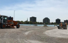 Fine grading work is done at the parking lot of the municipal boat launch at Sarnia Centennial Park. May 18. 2018 (Handout.)