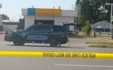 """Chatham-Kent police block off a section of McNaughton Ave. after a """"serious collision"""" involving a pedestrian and a vehicle. May 28, 2018. (Photo courtesy of Ange Fry via Facebook)"""