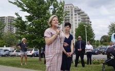 Ontario NDP Leader Andrea Horwath speaks to a Sarnia-Lambton crowd next to the St. Clair River with local candidate Kathy Alexander by her side. May 30, 2018. (Photo by Colin Gowdy, BlackburnNews)
