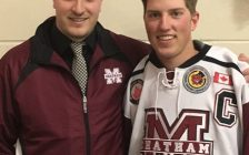 Dane Johnstone poses for a photo with Chatham Maroons head coach Kyle Makaric. (Photo courtesy of the Chatham Maroons)
