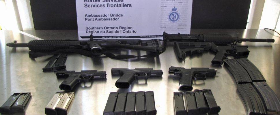 Guns seized by the Canada Border Services Agency on May 8, 2018, in Windsor. (Photo courtesy of the CBSA via Twitter)