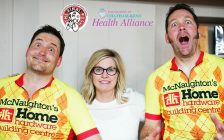"""Organizers of the Final Push bike ride Dave Depencier (left) and Dan VanMoorsel (right), pose with Mary Lou Crowley, Executive Director of the Foundation of CKHA, at the Dresden Rotary Club""""s Lite Bite event on Friday May 4, 2018. (Photo courtesy of CKHA)."""