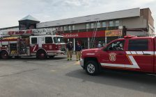 Sarnia Fire and Rescue respond to a renovation fire at Eastland Centre. May 2, 2018. (Photo provided to BlackburnNews by Greg Grimes)