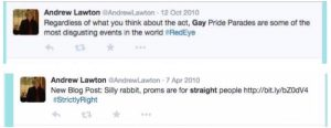 (Screen capture of tweets made by Andrew Lawton)