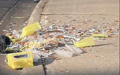 """Hundreds of needles discarded on Sarnia sidewalk. Photo used with permission from """"Take back our City from Meth, Fentanyl, and Pills"""" Facebook page. May 16/2018"""