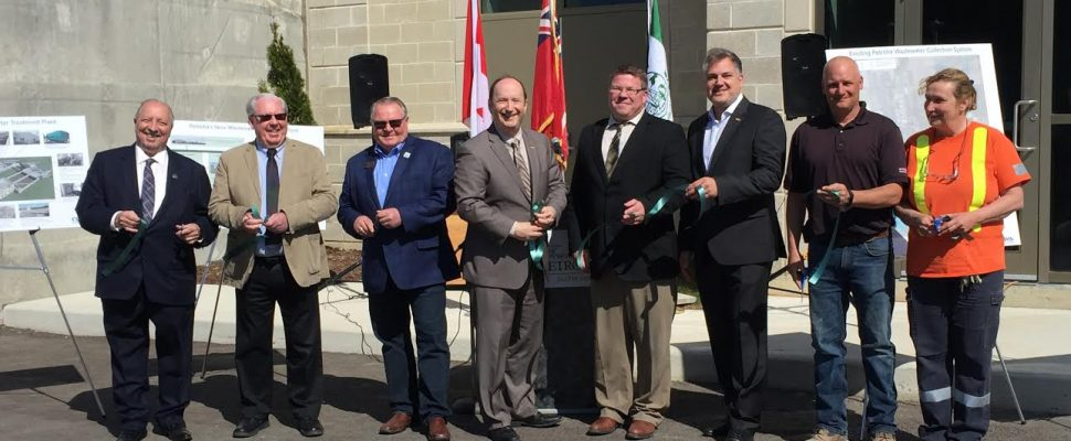Dignitaries gather for Petrolia wastewater treatment plant opening May 7, 2018 (photo courtesy of Town of Petrolia)