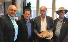 (From left to right.) Life Sciences Queensland Chief Executive Officer Mario Pennisi and Gladstone Regional Council Mayor Matt Burnett visit Sarnia Mayor Mike Bradley and Bioindustrial Innovation Canada Advisor Murray McLaughlin. May 31, 2018 (Photo by Melanie Irwin)