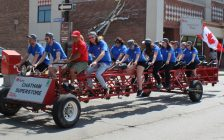Team Super Store is the first to ride the Big Bike in CK, in an effort to raise money for the Heart and Stroke Foundation. May 24, 2018. (Photo by Greg Higgins)