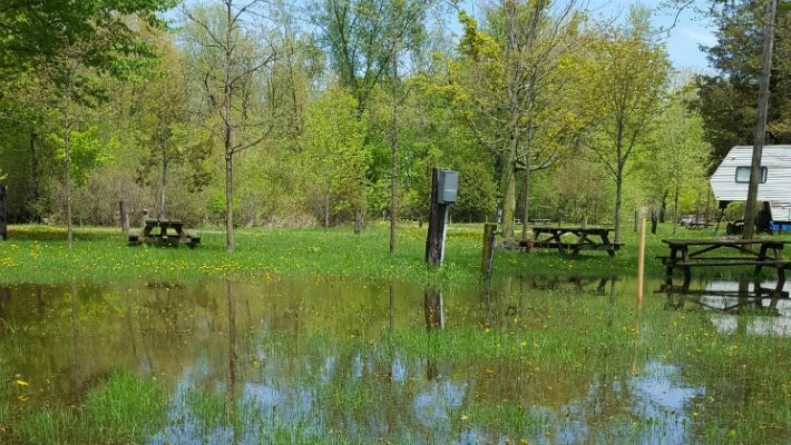 Many areas of the CM Wilson campground are under water and unsuited for use this long weekend, May 16, 2018. (Photo by Paul Kominek)