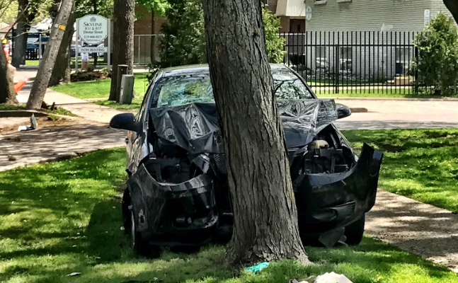 Emergency crews respond to a crash on Devine St. Photo courtesy of @SarniaFire Twitter.