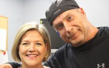 Ontario NDP Leader Andrea Horwath and Cool FM morning host Dave Tymo May 30, 2018. (Photo by Adelle Loiselle)