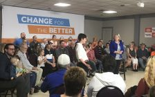 Sarnia-Lambton NDP candidate Kathy Alexander and party leader Andrea Horwath host town hall on health care May 14, 2018 BlackburnNews.com photo by Catriona Belet)