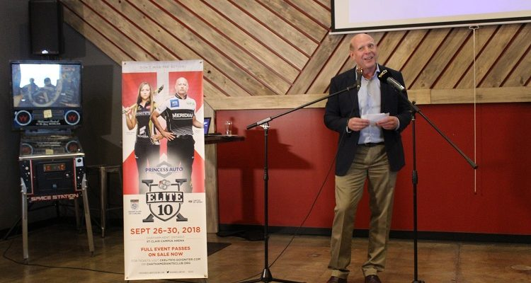 Hall of Fame curler Kevin Martin addresses a crowd at Sons of Kent Brewing Co. in Chatham. May 10, 2018. (Photo by Matt Weverink)
