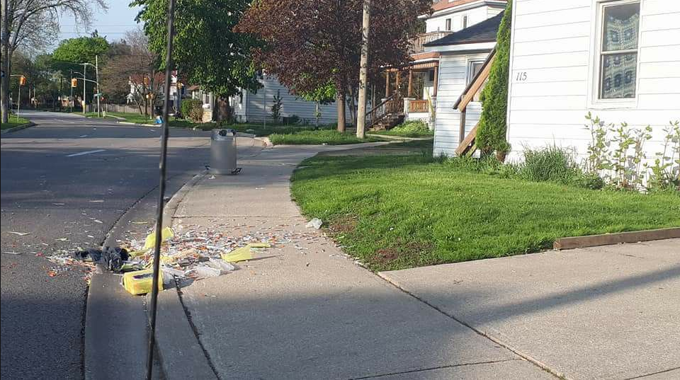 "Hundreds of needles discarded on Sarnia sidewalk. Photo used with permission from ""Take back our City from Meth, Fentanyl, and Pills"" Facebook page. May 16/2018"