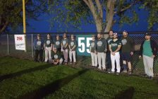 Nick Laprise's number was retired in a ceremony a month after his untimely death. May 18, 2018. (Photo courtesy of James Rankin)