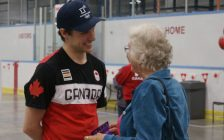Michael Marinaro speaks to a fan during a meet-and-greet at the Point Edward Arena. June 3, 2018. (Photo by Colin Gowdy, BlackburnNews)