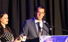 PC candidate Monte McNaughton delivers his victory speech after earning a win in the riding of Lambton-Kent-Middlesex, June 7, 2018. (Photo by Natalia Vega, BlackburnNews.com)