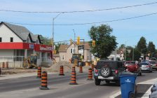 Construction at intersection of Grand Ave. W. and Lacroix St./Sandys St. in Chatham. June 25, 2018. (Photo by Sarah Cowan Blackburn News Chatham-Kent).
