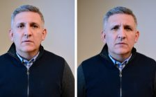 The photo on the right of researcher Julio Martinez-Trujillo includes wrinkles around the eyes -- a feature called the Duchenne marker that researchers have found to make emotions appear more sincere. (Photo courtesy of Western University)