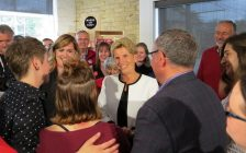 Liberal Leader Kathleen Wynne meets with supporters in London, June 5, 2018. (Photo by Miranda Chant, Blackburn News)