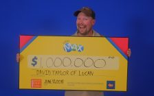 David Taylor of Lucan with his $1-million Lotto Max prize. Photo courtesy of the OLG.