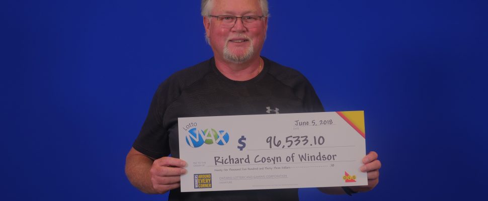 Richard Cosyn of Windsor. Lotto Max winner June 1 2018. (Photo courtesy of OLG)