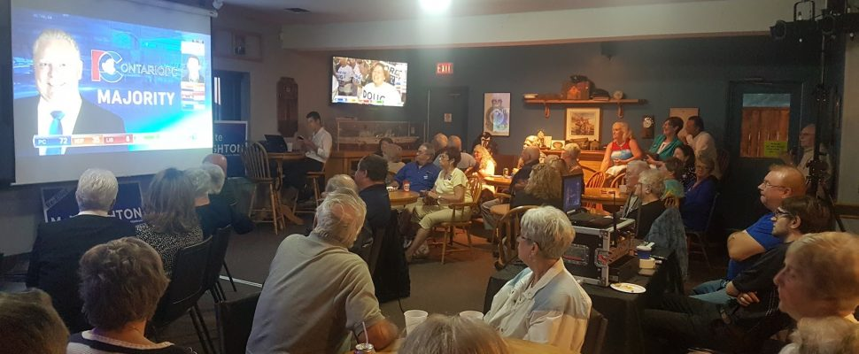 Supporters of Lambton-Kent-Middlesex PC incumbent Monte McNaughton gather at the Legion in Mt. Brydges. June 7, 2018 (Photo by Garrett Lajoie)