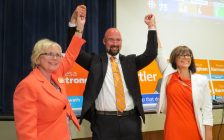 London West MPP Peggy Sattler, London North Centre MPP Terence Kernaghan, and London Fanshawe MPP Teresa Armstrong celebrate their election victory at the London Ukrainian Centre on Adelaide St., June 7, 2018. (Photo by Miranda Chant, Blackburn News)