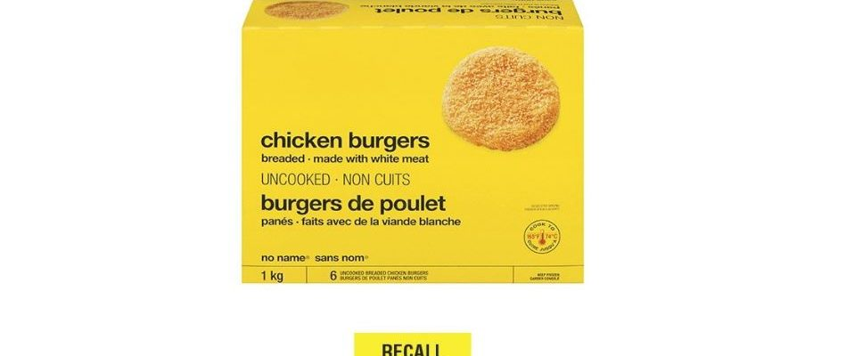 Select No Name Chicken Burgers are being recalled. (Photo courtesy of Loblaws Twitter).