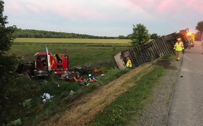 A transport truck in the ditch after colliding with a pickup truck on Crossley-Hunter Line at Dorchester Rd., June 19, 2018. Photo courtesy of Elgin OPP