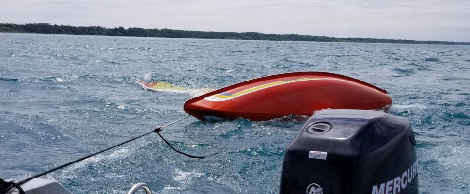 Photo of a capsized sailboat courtesy of the OPP.