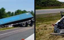 Two transport truck drivers are charged after two separate crashes on the WB Hwy. 401 near Ridgetown. June 12, 2018. (Photos courtesy of Chatham-Kent OPP)